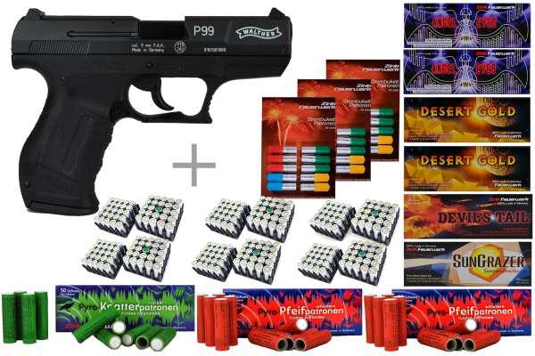 Schreckschuss Silvester Set XXL Walther P99 Schwarz/ brüniert + 600 Teile