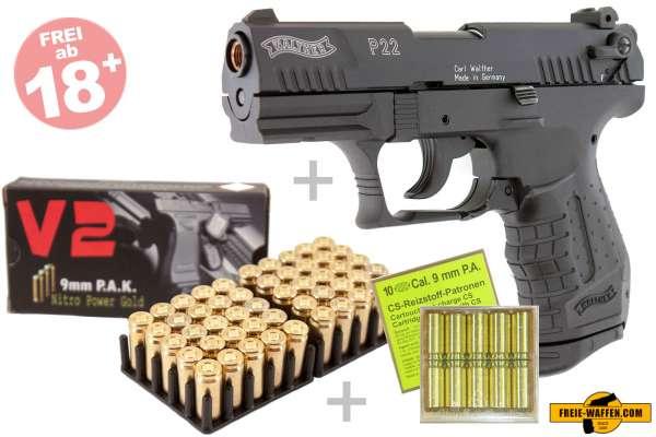 Walther P22 Schreckschuss Set + 50 Platzpatronen + 10 CS-Reizstoff-Patronen