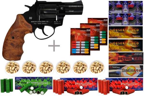 """Schreckschuss Silvester Set Professional Zoraki R1 2,5"""" Revolver Schwarz + 600 Teile"""