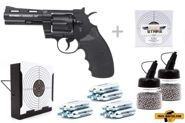 "Co² Pistole Komplettset: Swiss Arms 357-4"" NBB, Kugelfangkasten & Zubehör"