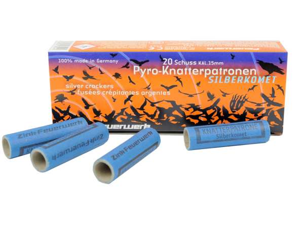 Zink Feuerwerk Pyro-Knatterpatronen Silberkomet 20 Schuss Kal.15mm