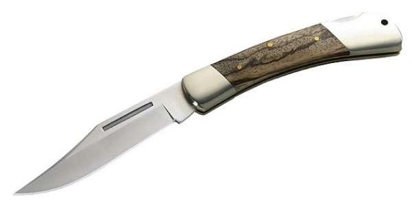 Herbertz Taschenmesser, Stahl 440 C, Zebrano-Holz, Neusilberback