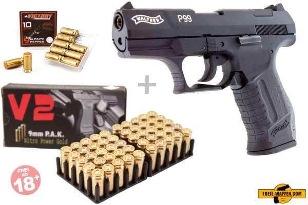 Walther P99 Schreckschuss Set Pistole, 50 Platzpatronen 10 Pfefferpatronen.