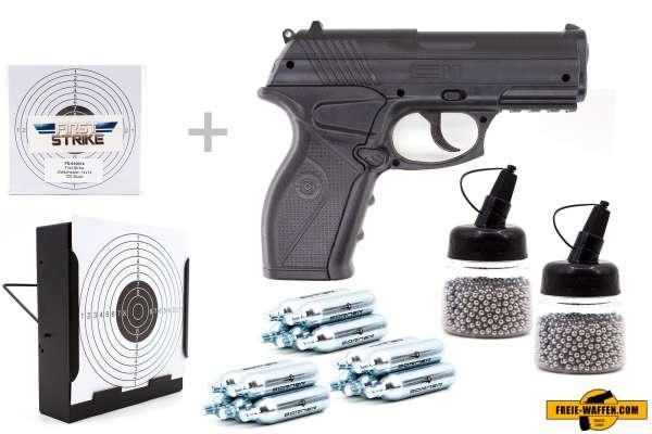Co² Pistole Komplettset: Crosman Modell C11, Kugelfangkasten & Zubehör