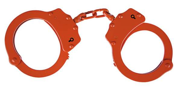 Handschellen orange mit Arretierung