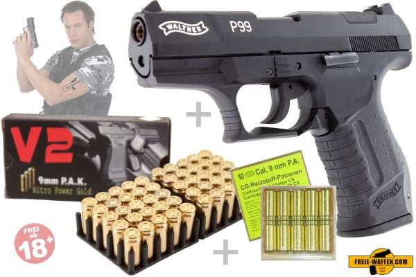 Walther P99 Schreckschusspistole 50 Schuss Knall- und 10 Schuss CS-Patronen Set