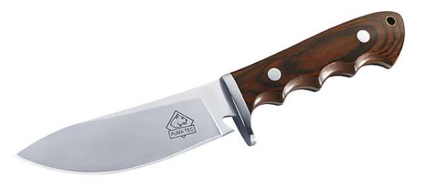 Puma TEC Gürtelmesser, Pakkaholz, Klinge 12 cm, Lederscheide