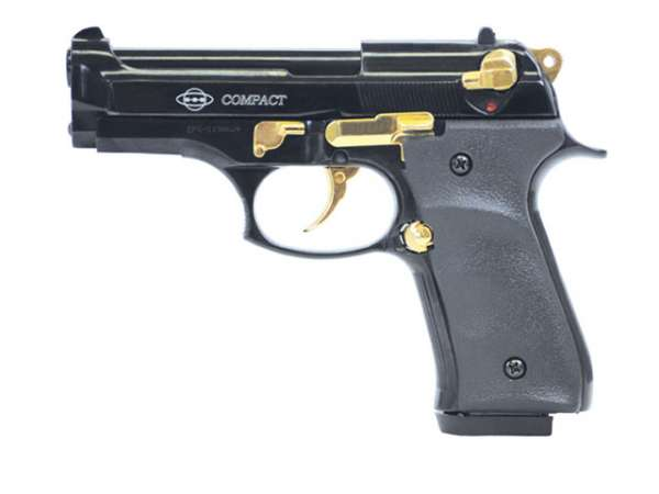 GSG Compact Schreckschusspistole / Gaspistole, schwarz-gold
