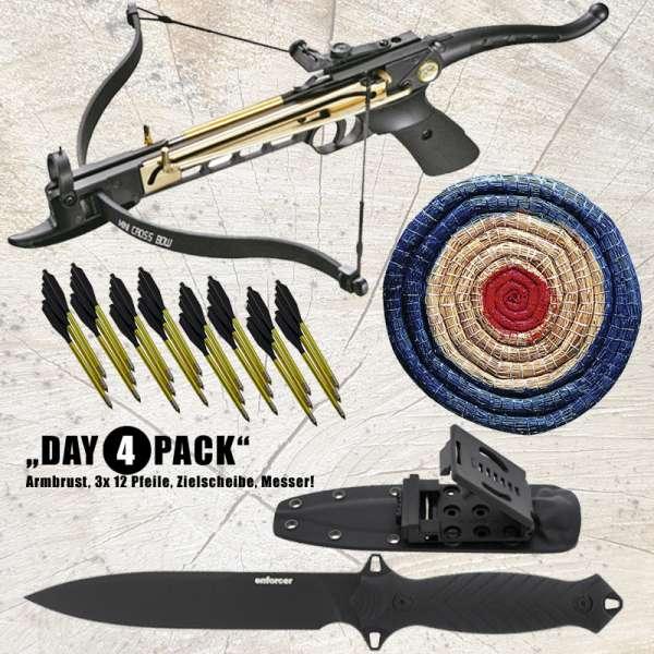Hunting Gear Deals: Pistolenarmbrust Cobra + Pfeile 12er Pack + Strohzielscheibe + Einsatzmesser