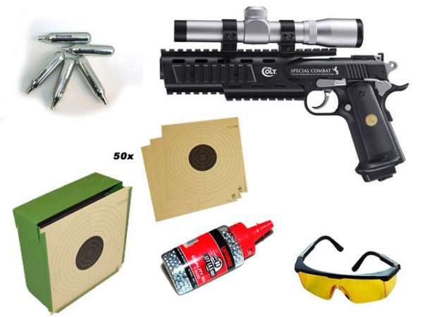 Colt Special Combat, Kugelfang, Brille, 1500 BBs, 10xCo2 Kapse