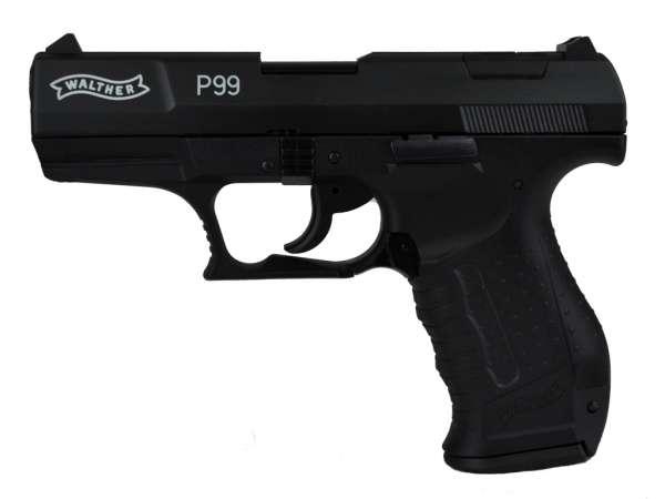 WALTHER P99 Schreckschuss Pistole Gas Alarm Signal Pistole Kaliber 9 mm P.A.K. brüniert, schwarz
