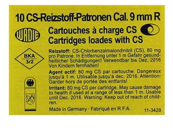 10 CS-Reizstoffpatronen Wadie 9mm R für REVOLVER