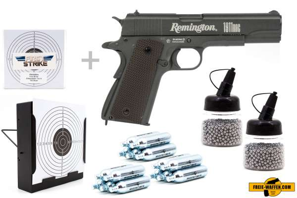 Co² Pistole Komplettset: Crosman Remington 1911 RAC, Kugelfangkasten & Zubehör