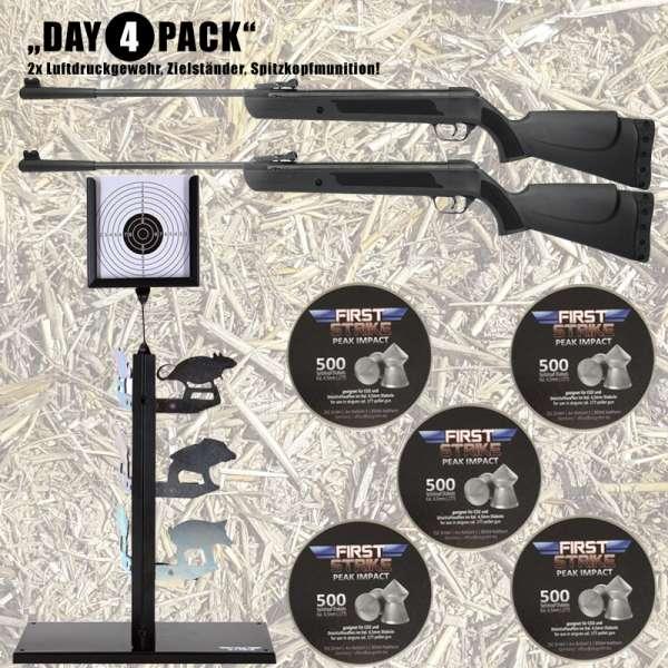 Komplettset: 2x First Strike Bearhunter Knicklauf-Luftgewehr + 2500 Diabolos + Zielständer