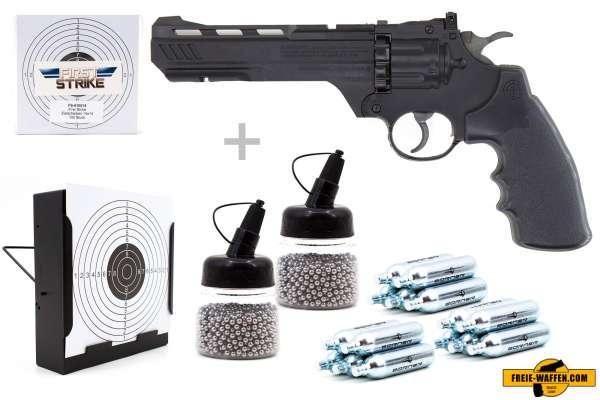 Co² Pistole Komplettset: Crosman Vigilante Schwarz, Kugelfangkasten & Zubehör
