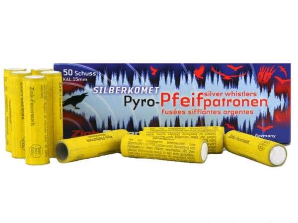 Zink Feuerwerk: Silberkomet Pyro-Pfeifpatronen, Silver Whistler, Kaliber: 15 mm, 50 Teile