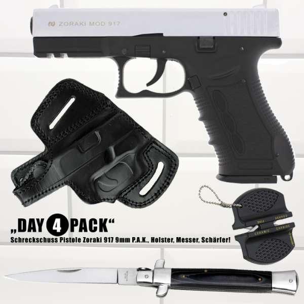 Everydaycarry: Zoraki 917 Schreckschusspistole 9mm P.A.K. Chrom matt + Holster + Taschenmesser