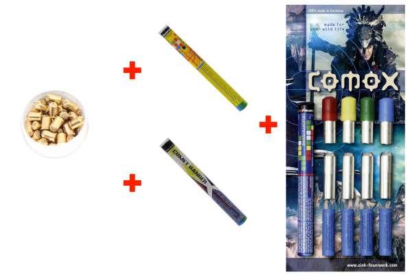 Silvester Schreckschuss Set: 42 Teile Zink Feuerwerk  + 50 Stk. 9mm R.K. (Revolver)