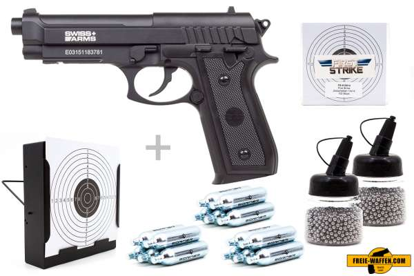 Co² Pistole Komplettset: Swiss Arms SA92 NBB, Kugelfangkasten & Zubehör