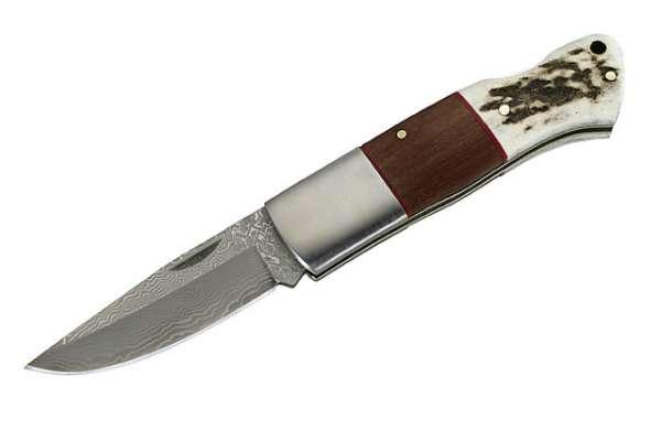Herbertz Damast-Taschenmesser, AISI 440, 35 Lagen, Hirschhorn, C