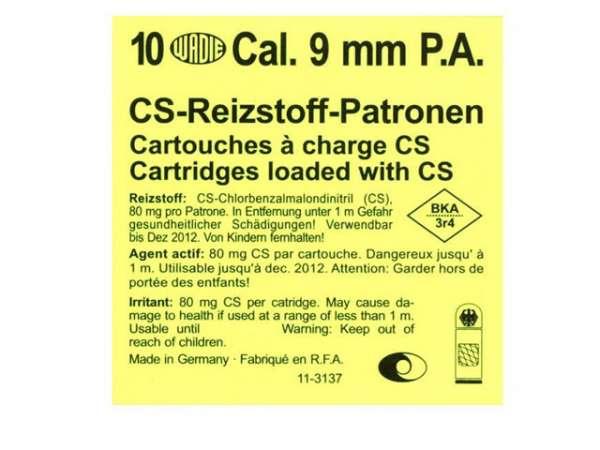 10 CS-Reizstoffpatronen Wadie 9mm P.A. für PISTOLEN