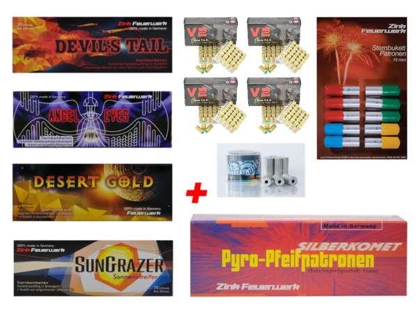 Silvester Pyro Munition - Set: 170 Teile Zink Feuerwerk + 200 Schuss Platzpatronen