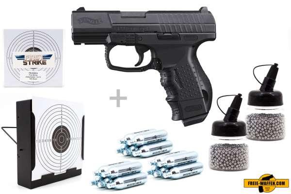 Co² Pistole Komplettset: Walther CP99 Compact Blow Back, Kugelfangkasten & Zubehör