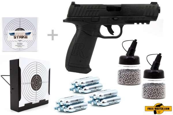 Co² Pistole Komplettset: Crosman Remington RP45, Kugelfangkasten & Zubehör
