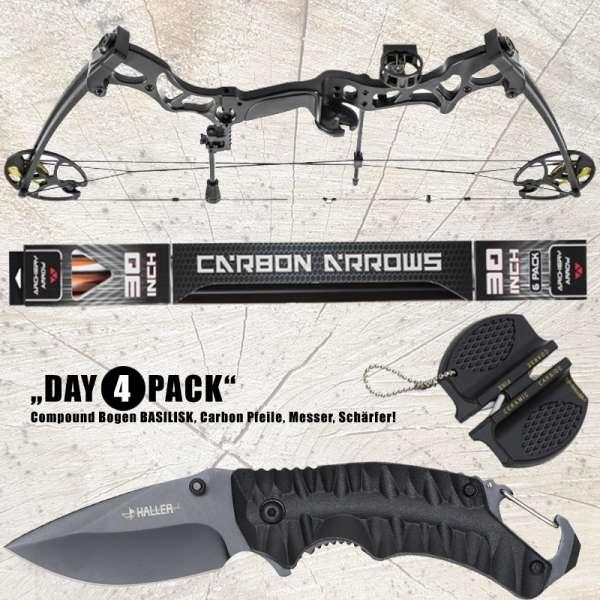 Hunting Gear Deals: Compound Bogen BASILISK + Carbon Pfeile 30'' + Haller EinhandmesserHunting Gear Deals: Compound Bogen BASILISK + Carbon Pfeile 30'' + Haller Einhandmesser