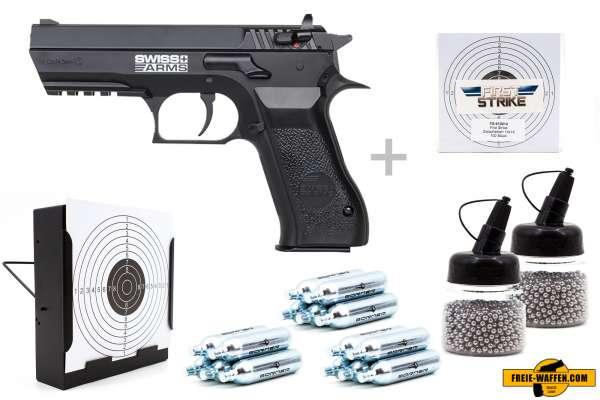 Co² Pistole Komplettset: Swiss Arm 941 NBB, Kugelfangkasten & Zubehör