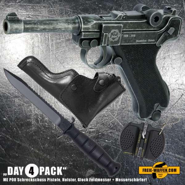 Everydaycarry: ME P08 Schreckschuss Pistole 9 mm P.A.K. Antik Look + Holster + Glock Feldmesser