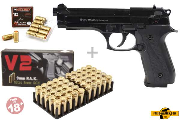 Schreckschuss Set: Ekol Magnum Schwarz/ brüniert + 50 Platz- / + 10 Pfefferpatronen 9mm