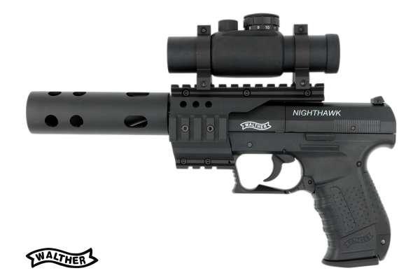 Walther Nighthawk CO2 Luftpistole 4,5 mm (.177) Diabolo inkl. Walther Top Point RedDot + Kompensator CO² Pistole.