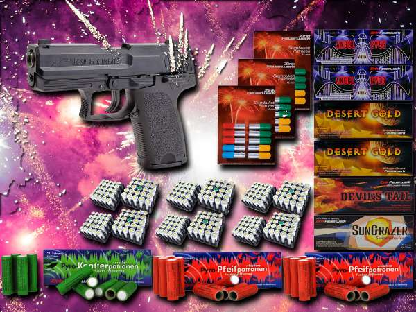 Schreckschuss Silvester Set XXL IWG SP15 COMPACT Pistole inkl. 600 Teile