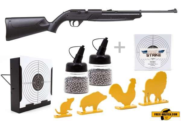 Luftgewehr Komplett Set: Crosman Luftgewehr Pumpmaster 760 Schwarz, Kugelfangkasten & Zubehör