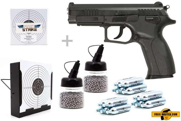 Co² Pistole Set: Grand Power Modell K100 NON BLOW BACK, Kugelfangkasten + 100 Zielscheiben + 15 Co²