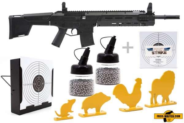 Luftgewehr Komplett Set: Crosman Luftgewehr MK-177 Schwarz, Kugelfangkasten & Zubehör