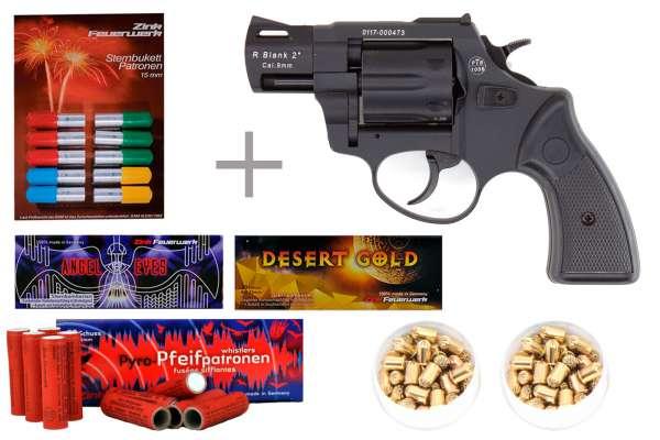"""Schreckschuss Silvester Set Starter Zoraki R2 2"""" Revolver Schwarz + 200 Teile"""