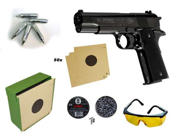 Colt Government, Kugelfang, Brille, 500 Diablos, 10 C02 Kapseln