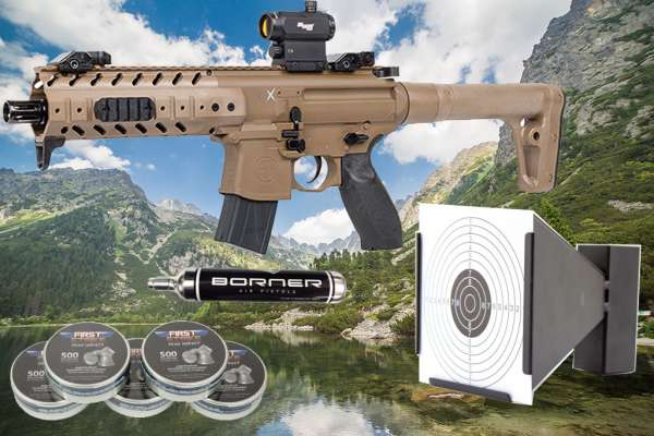 Luftdruckgewehr Sig Sauer MPX dark earth 4,5mm + Magazin + Red Dot + Zielkasten Trichte