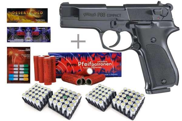 Schreckschuss Silvester Set Walther P88 Schwarz/ brüniert inkl. 100 Stk. Effekt + 100 Stk. 9mm P.A.K.