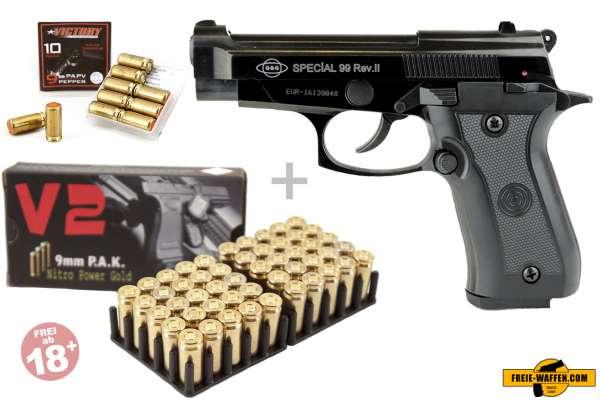 Schreckschuss Set: Ekol Special 99 REV. II Schwarz/ brüniert + 50 Platz- / + 10 Pfefferpatronen 9mm