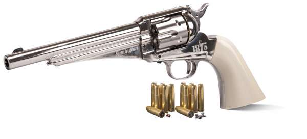 Crosman Remington 1875 CO2 Revolver Kal. 4,5 mm Diabolo und BB nickel Finish