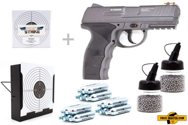 Co² Pistole Set: Borner W3000M, Kugelfangkasten + 100 Zielscheiben + 15 Co² Kap