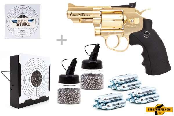"Co² Pistole Komplettset: Dan Wesson 2,5"" Gold, Kugelfangkasten & Zubehör"