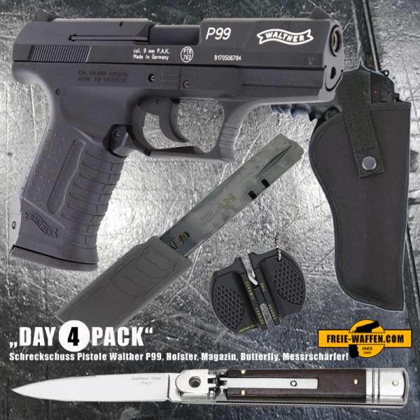 Everydaycarry: Walther P99 Schreckschuss Pistole 9 mm P.A.K. + Holster + Magazin + Springmesser