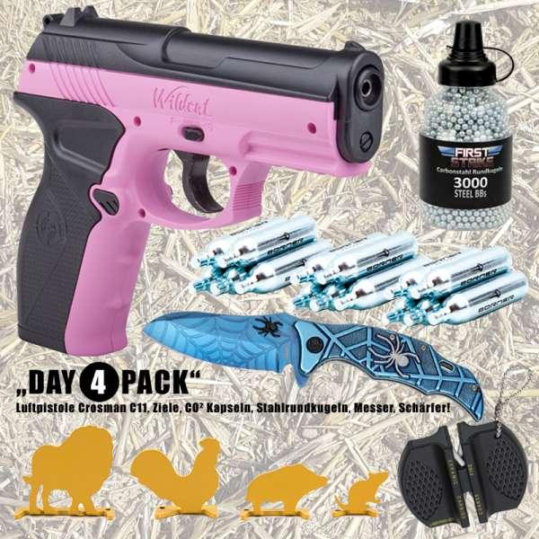 Komplettset: Crosman Luftpistole C11 4,5mm Pink Wild Cat + Munition + Zielscheiben + Taschenmesser B