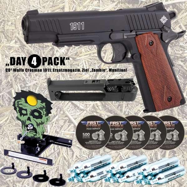Komplettset: Crosman CO² Pistole 1911 4,5 mm (.177) + Magazin + Ziel + CO² Kapseln + 2500 Diabolo