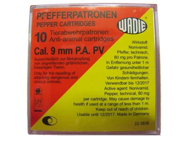 10 Pfefferpatronen Wadie 9mm P.A. PV für PISTOLEN