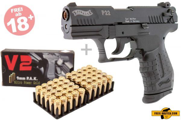 Walther P22 Schreckschuss Set + 50 Platzpatronen + 10 CS Patronen